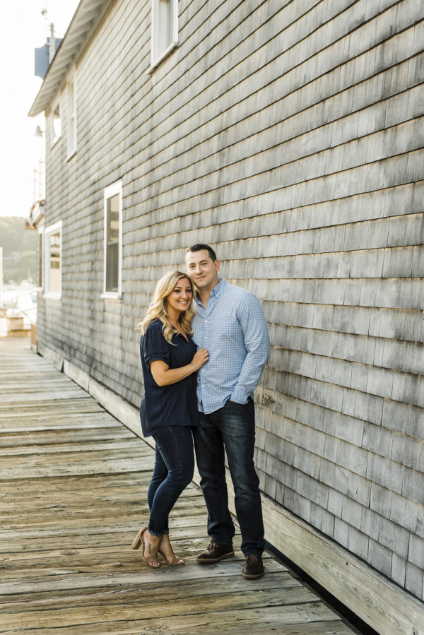 Hometown sweethearts easide New York engagement session