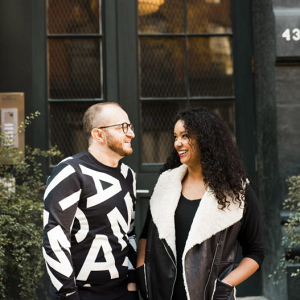 Modern and urban engagement session with foodie couple