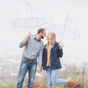 Bubble umbrellas and the couple
