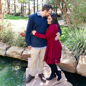 Outdoor garden engagement session in Lubbock