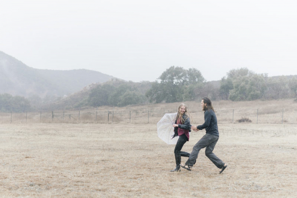 Rainy day engagement session in Big Bear