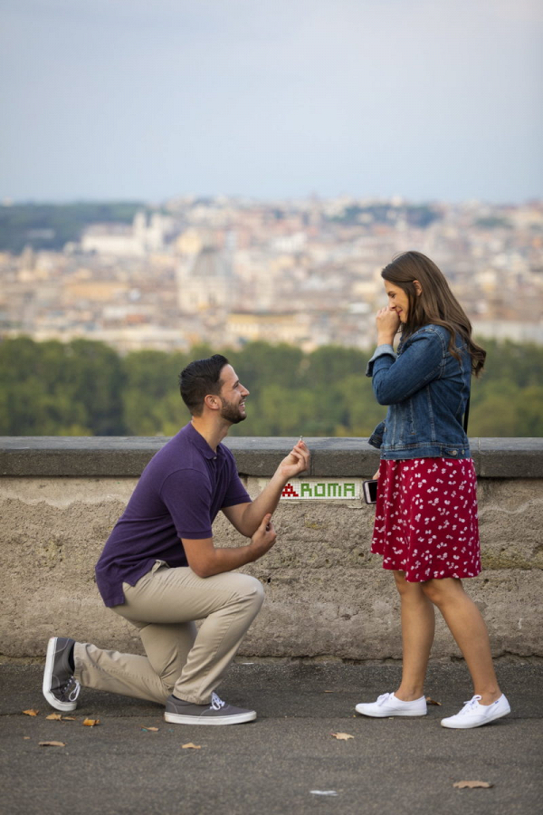 Roman wedding proposal with a view
