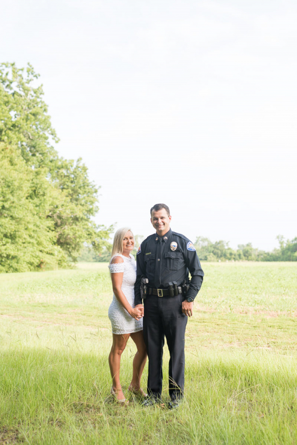 Engagement session in Police uniform