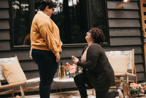 Romantic modern cabin proposal