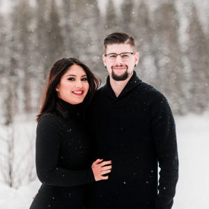 Snowy mountain engagement in Colorado