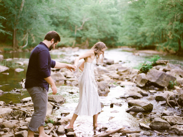 Engagement session by the river in a state park