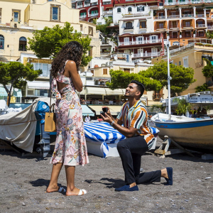 Sweet Positano beach proposal
