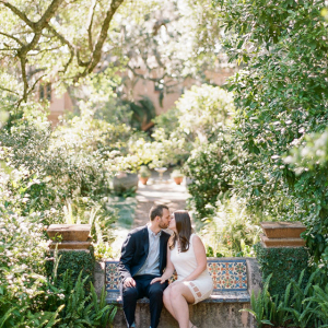 Kissing on a garden bench