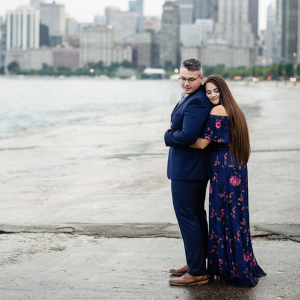 Urban lakeside engagement session in Chicago
