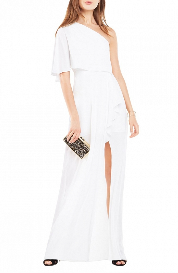 BCBG 'Secha' One-Shoulder Georgette Gown2