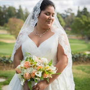 plus size bride, A-line tulle dress, cap sleeves, peach flowers