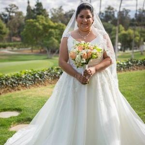 plus size bride, A-line tulle dress, cap sleeves, peach flowers