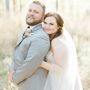 plus size bride, groom, grey suit, wedding veil, willowby by watters,