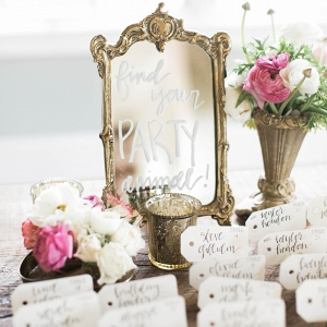 escort cards, animal escort cards, mirror,