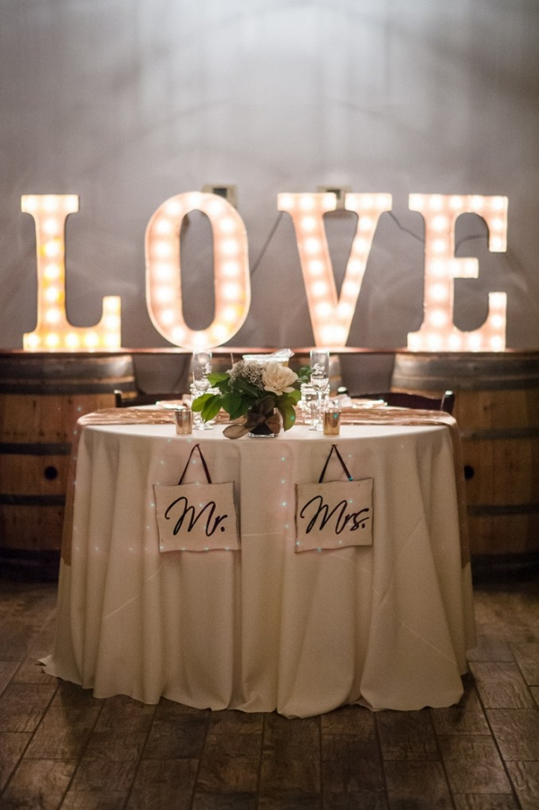 sweetheart table at elegant mint lake house wedding in arizona