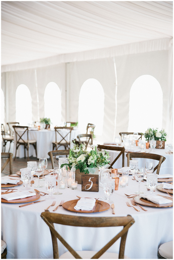 Tent Reception, Green and White with natural accents