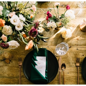 Colorful, organic table setting