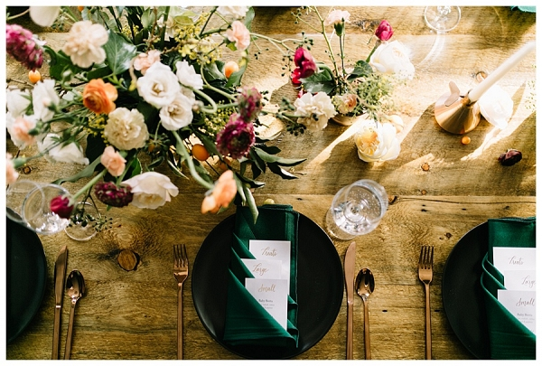 Colorful, organic table setting