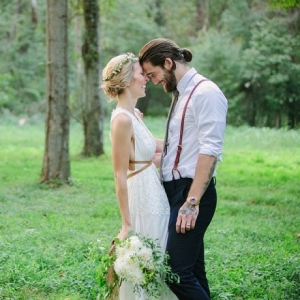 Gorgeous boho bride with her handsome new Mr!