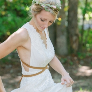 Gorgeous boho bride in her Free People wedding dress!