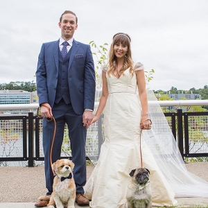 Darling bride and handsome groom with their two fur babies!