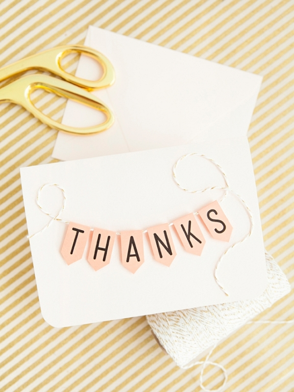 Darling free printable alphabet banner used to create a cute thank you card!
