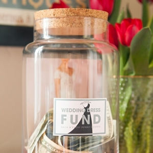 Learn how to make your own Wedding Dress fund photo jar!