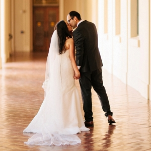 We LOVE this shot of the gorgeous Bride and Handsome Groom kissing after their ceremony!