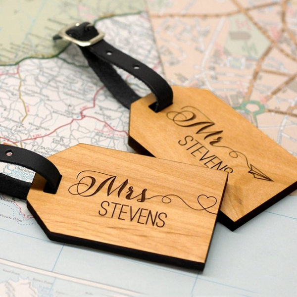 Wooden, Personalized Mr + Mrs Luggage Tags by Maria Allen, $50