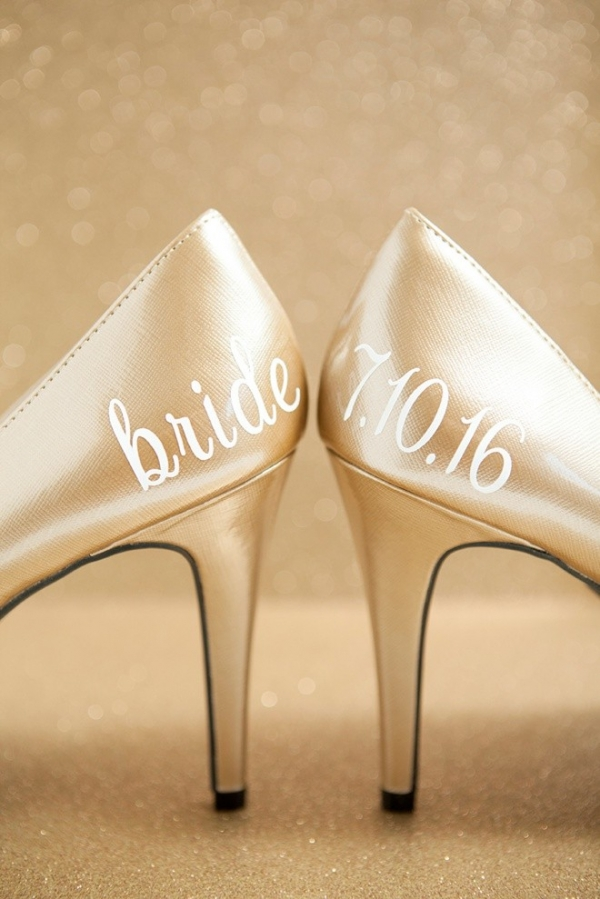 DIY Wedding Shoe Stickers that say bride and the wedding date!