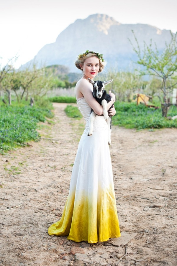 Yellow dip-dye ombre wedding dress