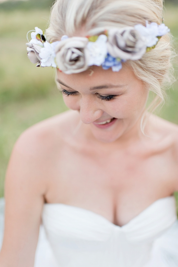 Bride with Fabric Floral Crown