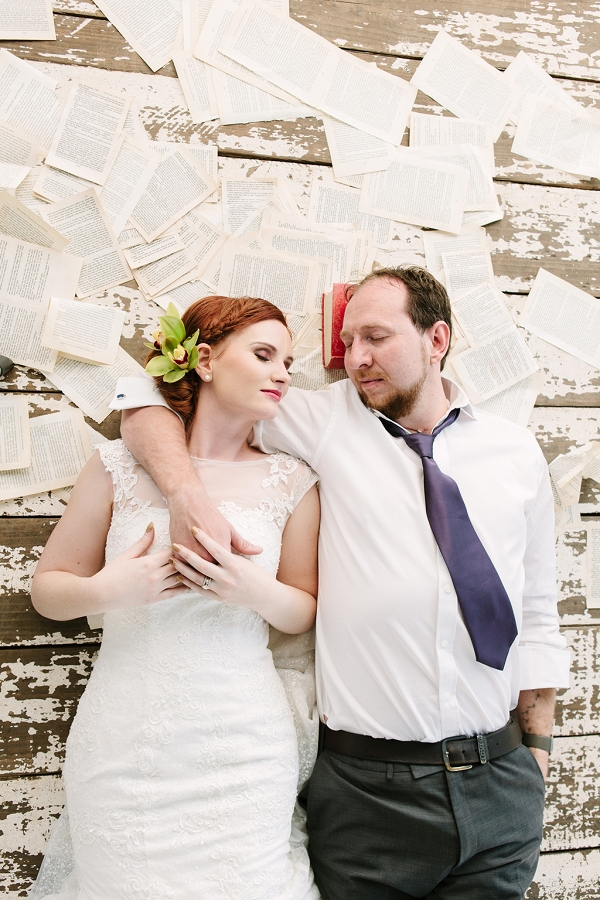 Bride and Groom with Book Pages