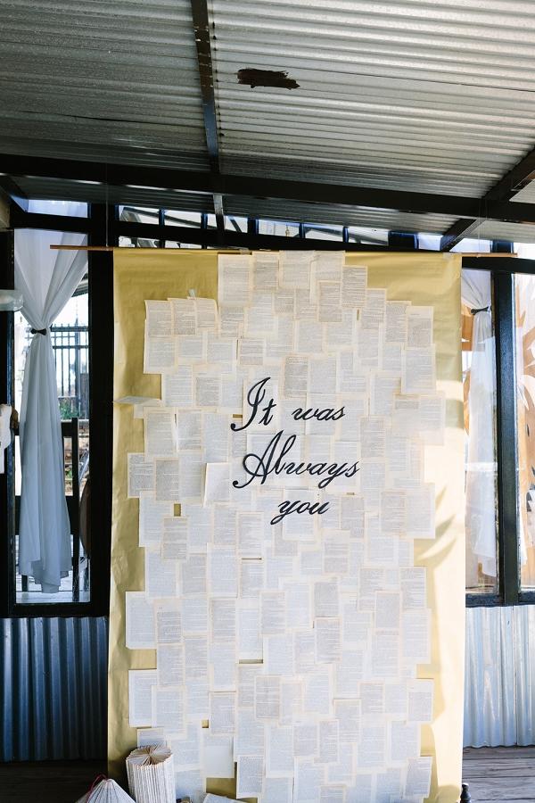 Book Inspired Ceremony Backdrop