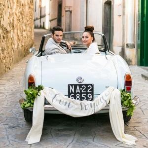 Vintage honeymoon getaway car