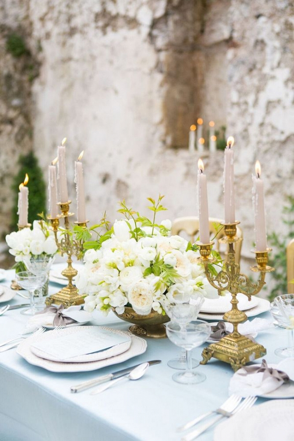 Blue and gold tablescape