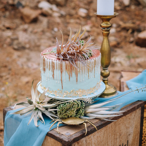 Gold & Copper Pastel Drip Cake