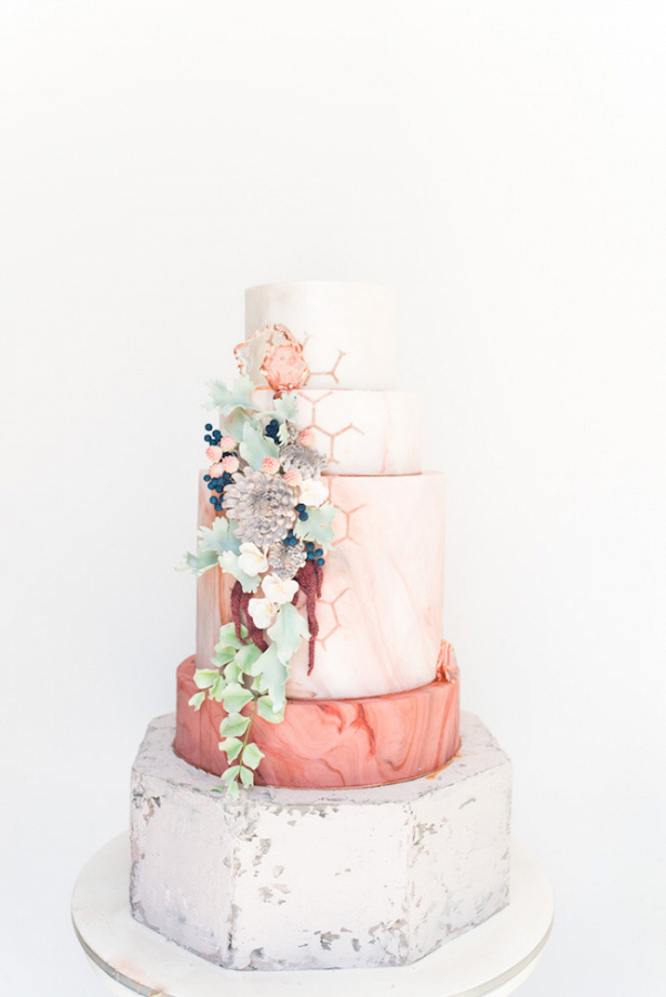 Marble and Concrete Textured Wedding Cake