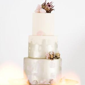 Pastel Metallic Wedding Cake