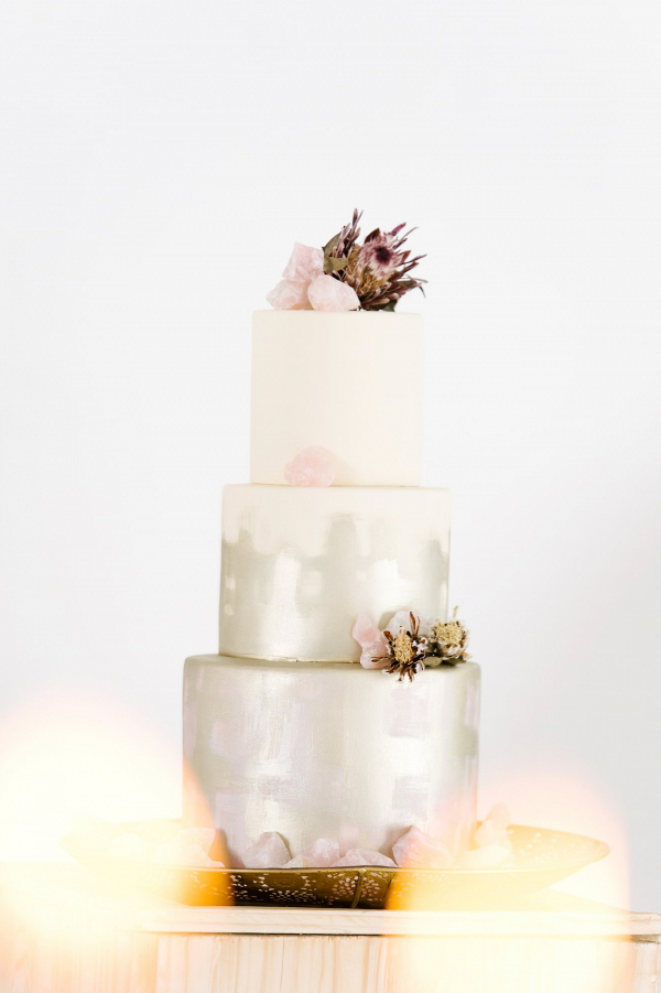 Pastel Metallic Wedding Cake