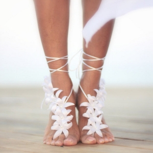 Barefoot Sandals with Silk Flowers
