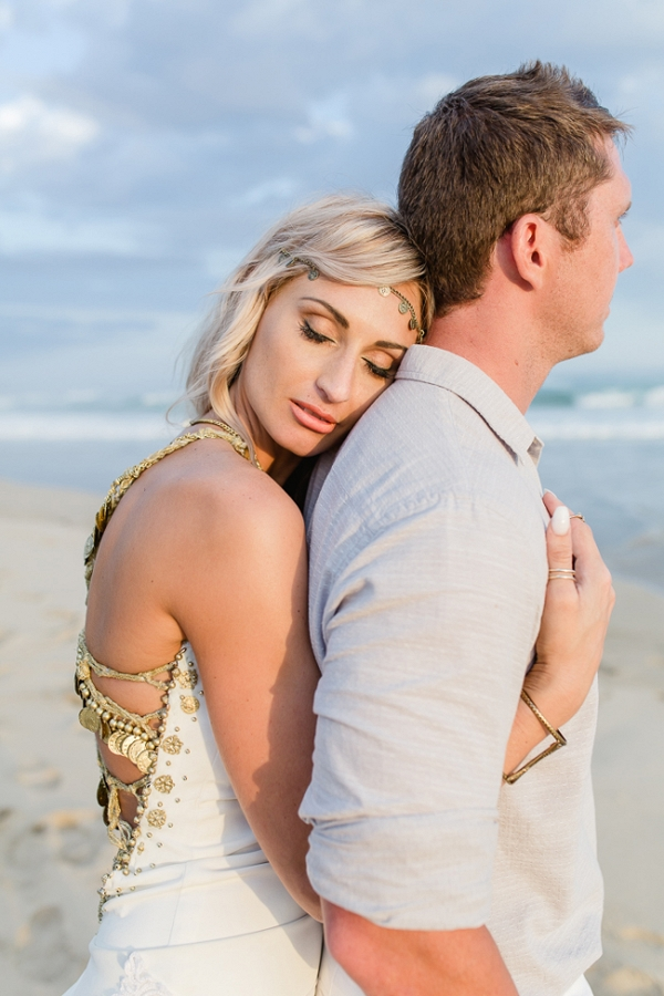 Beach boho bride & groom