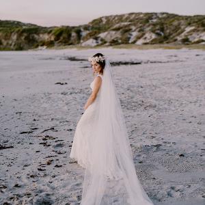 Beach Bride with Long Veil