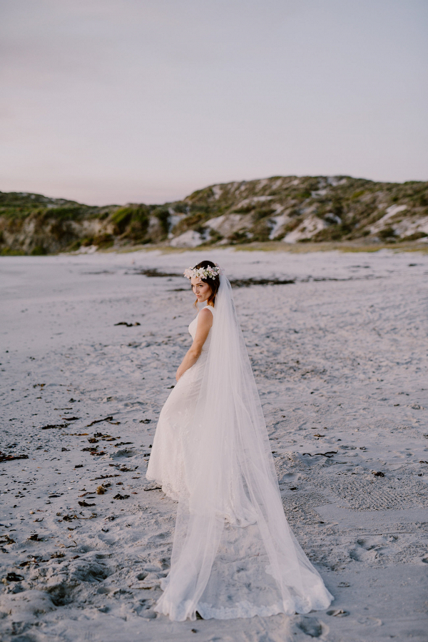 Beach Bride with Long Veil