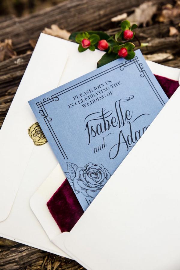 Invitation with Velvet Envelope Liner