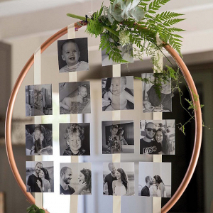 Hanging Copper Hoop Photo Wall