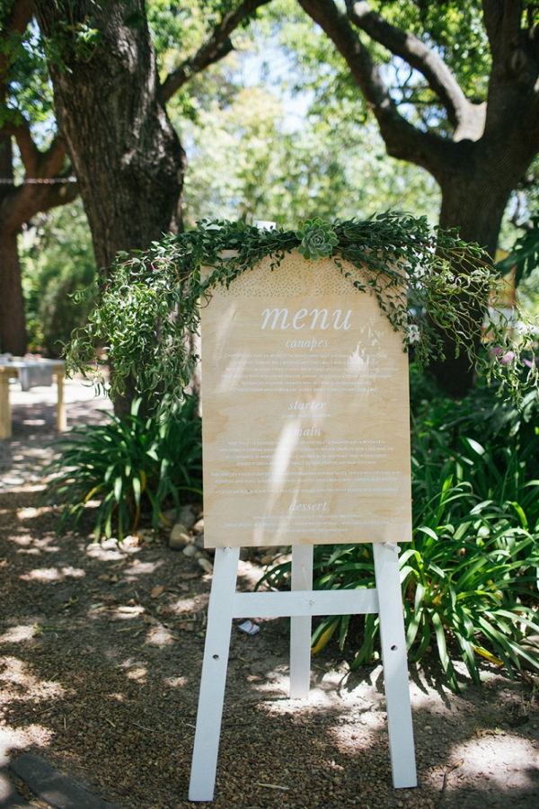 Wood Menu Sign with Greenery