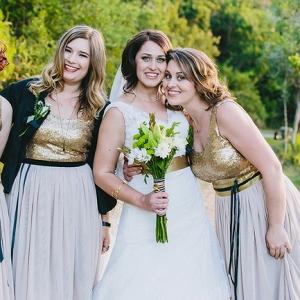 Bride with Sequin Bridesmaids