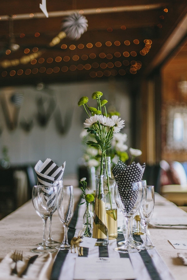Table with Monochrome Stripes & Spots