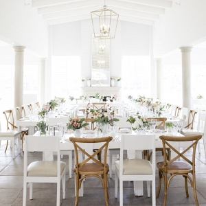 Modern white wedding tables